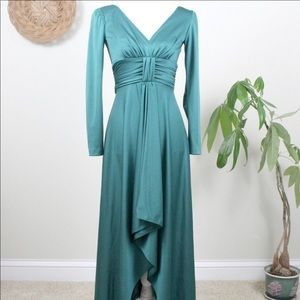 Vintage | 70s Green High Low Holiday Party Dress